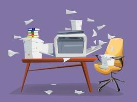 Imprimante de bureau scanner copieur avec papier volant isolé sur fond photocopieuse avec pile de documents pile de papiers dans des boîtes en carton sur la table avec chaise de bureau vecteur