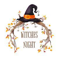 Cadre Halloween aquarelle avec branches, chapeau de sorcière et toile d'araignée