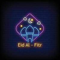 eid al fitr vecteur de texte de style enseignes au néon