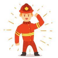 Pompier sur vecteur blanc