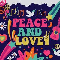 Conception de vecteur de paix et d'amour