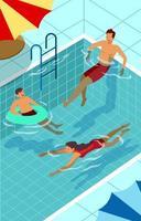 famille heureuse nager pendant l'été vecteur