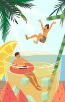 enfants heureux nagent en été vecteur