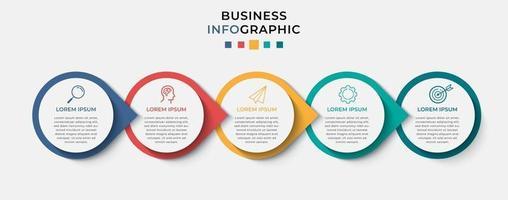 modèle d & # 39; entreprise de conception infographique vectorielle avec des icônes et 5 options ou étapes vecteur