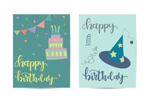 modèle de carte de voeux d'anniversaire avec des éléments d'anniversaire vecteur