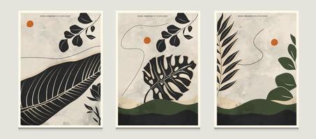 Arrière-plans d'illustration vectorielle d'art de ligne botanique abstraite minimaliste moderne sertie de scène d'art de ligne botanique appropriée pour les livres couvre les brochures dépliants messages sociaux affiches etc. vecteur