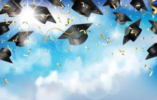 bonnets de graduation et confettis dans les airs vecteur
