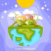 technologie propre et verte vecteur