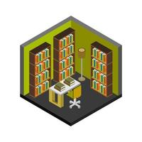 bibliothèque isométrique sur fond blanc vecteur