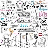 Articles de musique doodle icons set croquis dessinés à la main avec des notes instruments microphone guitare casque batterie lecteur de musique et styles de musique lettrage signes vector illustration isolé