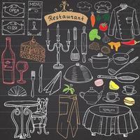restaurant croquis doodles ensemble éléments dessinés à la main nourriture et boisson couteau fourchette menu chef uniforme vin bouteille serveur tablier dessin doodle collection sur tableau noir vecteur
