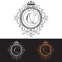 lettre q modèle de logo de luxe s'épanouit calligraphique élégant ornement lignes entreprise signe identité pour restaurant redevance boutique hôtel bijoux héraldique mode illustration vectorielle vecteur