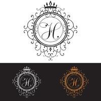 lettre h luxe logo modèle s & # 39; épanouit calligraphique élégant ornement lignes entreprise signe identité pour restaurant redevance boutique hôtel bijoux héraldique mode illustration vectorielle vecteur
