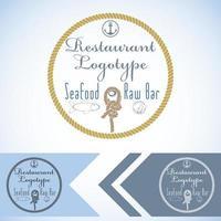 logo maquette pour restaurant de fruits de mer et conception graphique de vecteur de bar cru avec poisson et huître et corde