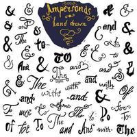 esperluette et mots clés ensemble dessiné à la main pour les conceptions de logo et d'étiquette collection de symboles en lettres de style vintage à la main isolée sur fond blanc vecteur
