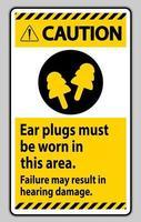 signe de mise en garde des bouchons d'oreille doivent être portés dans cette zone, une défaillance peut entraîner des dommages auditifs vecteur
