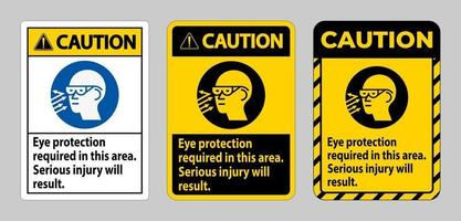 panneau de mise en garde protection oculaire requise dans cette zone de graves blessures vecteur
