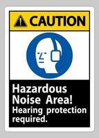 Panneau d'avertissement protection auditive de zone de bruit dangereux requis vecteur