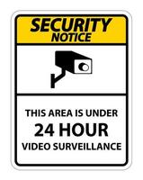 avis de sécurité cette zone est sous le symbole de surveillance vidéo de 24 heures vecteur