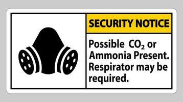 avis de sécurité signe ppe possible présence de CO2 ou d'ammoniaque respirateur peut être nécessaire vecteur