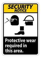 Avis de sécurité signe un port de protection est requis dans ce domaine avec des lunettes de protection casque et des symboles de bottes sur fond blanc vecteur