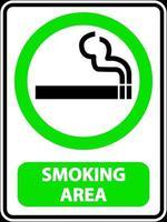 Étiquette de signe de zone fumeurs sur fond blanc vecteur