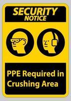 Avis de sécurité signe ppe requis dans la zone de concassage isoler sur fond blanc vecteur