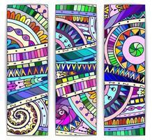 ensemble de cartes vectorielles tribales doodle abstraites vecteur