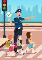 Agent de police aidant vecteur
