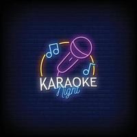 karaoké nuit néon signes style texte vecteur