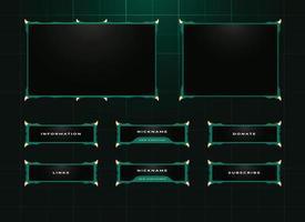 ensemble de conception de superposition de panneau de streamer twitch vecteur