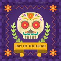 Jour plat du crâne de sucre de la mort avec ornement Vector Illustration