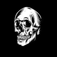 Linogravure de crâne vecteur