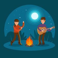 Jeune couple jouant de la guitare et de la danse au feu de camp vecteur