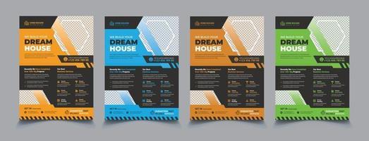 mise en page de flyer de construction avec ensemble d'éléments graphiques vecteur