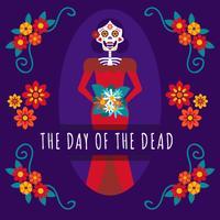 Journée de fille crâne mexicaine du fond mort vecteur