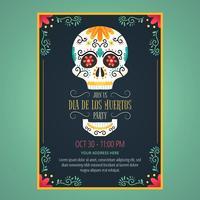 Flyer Jour De Morts Avec Crâne De Sucre Et Fleurs vecteur