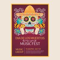 Aquarelle Flyer Journée des morts avec crâne mexicain