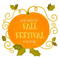 Festival de citrouille mignon avec des feuilles à l'automne vecteur