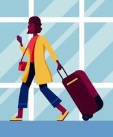 Femme avec illustration de valise vecteur