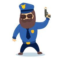 Policier avec pistolet vecteur