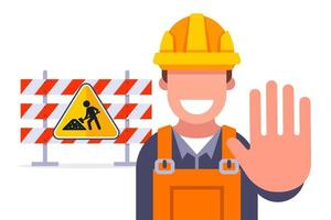 clôtures pour la restriction de la réparation de la route du voyage sur l'illustration vectorielle plane de l'autoroute vecteur