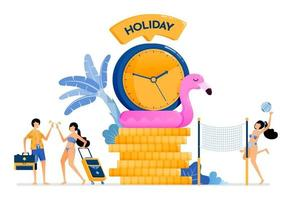 temps de vacances parfait pendant l'été sur les plages des îles tropicales vacances ensemble pour lune de miel et soulager le stress illustration peut être utilisée pour la page de destination bannière site Web affiche brochure vecteur