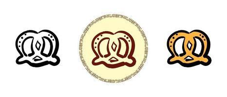 contour et couleur et symboles rétro de bretzels salés vecteur