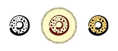 symboles de contour et de couleur et de beignet rétro vecteur