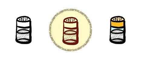 contour et couleur et symboles rétro de sel et de poivre vecteur