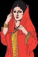 belle fille fictive avec une robe indienne ethnique en saison d'hiver vecteur