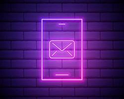néon lumineux nouvelle notification de messages de chat sur l'icône de téléphone isolé sur fond de mur de brique sombre smartphone bavardant messages sms bulles vector illustration