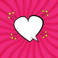 discours de bulle de coeur rose avec un style pop art vecteur