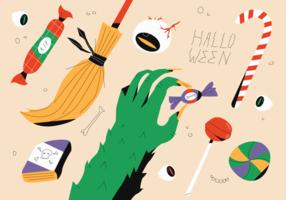 Monstre et sorcière célèbrent Halloween Party Candy Vector Illustration